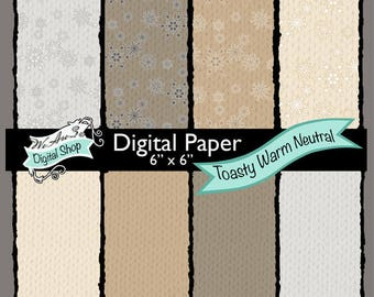We Are 3 Digital Paper, Toasty Warm Neutral - Knitted Texture