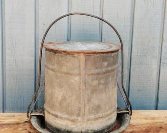 Vintage Galvanized Chicken Watering Can - Watering Can - Farmhouse Decor - Galvanized Planter