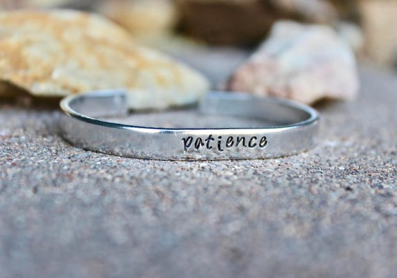 Patience Bangle Bracelet, Patience Bangle cuff Inspirational bracelet Inspirational Word Bangle Simple Bangle Cuff Simple Silver bangle cuff