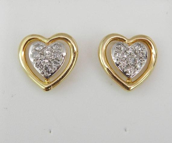 Diamond Heart Stud Earrings Wedding Studs Love Gift Yellow Gold Cluster