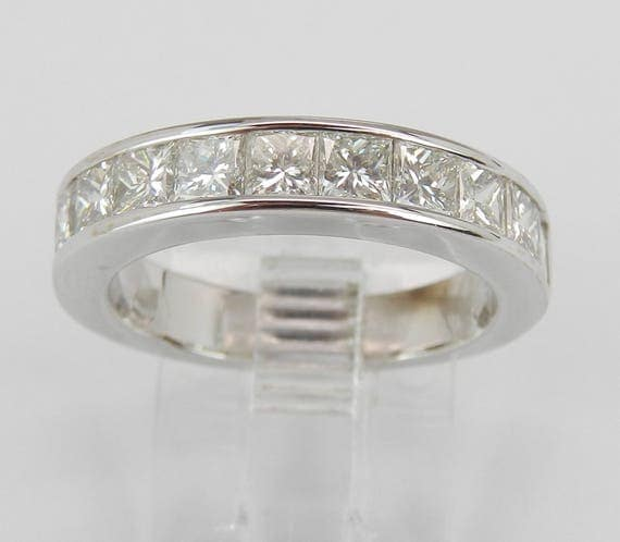 18K White Gold 1.50 ct Princess-Cut Diamond Wedding Ring Anniversary Band Size 6