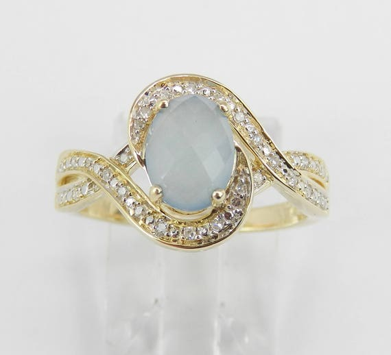 14K Yellow Gold Diamond and Chalcedony Engagement Promise Ring Size 7
