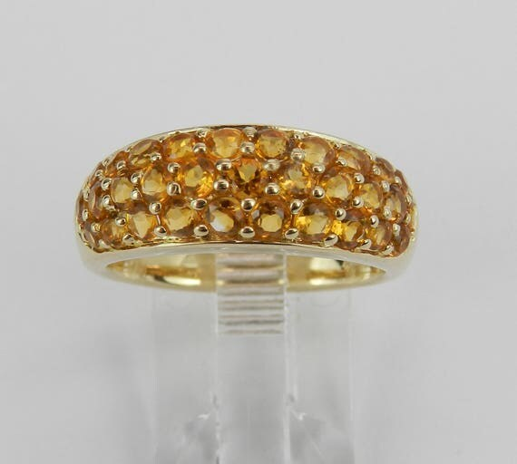 14K Yellow Gold 1.50 ct Citrine Cluster Anniversary Band Wedding Ring Size 7.25