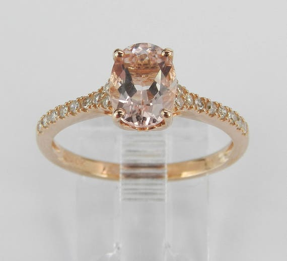 Rose Gold Morganite and Diamond Engagement Ring Size 7 Traditional Design