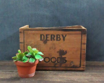 Derby Foods Roast Beef Crate, Rustic Wooden Crate, Farmhouse Decor