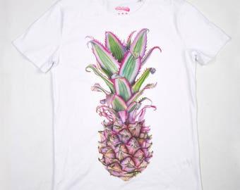 SALE Pink Pineapple t shirt mens t shirt graphic tee watercolour painting shirt