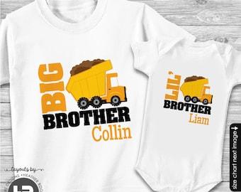 Dump Truck Big Brother Shirt & Dump Truck Little Brother Shirt or Bodysuit - 2 Personalized Construction Shirt - Monogram Baby Shower Gift