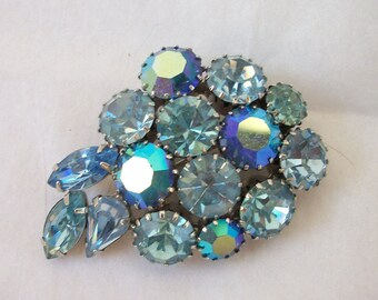 Vintage  Big Blue and AB Mix ~ Rhinestone Leaf Brooch ~ Dazzling