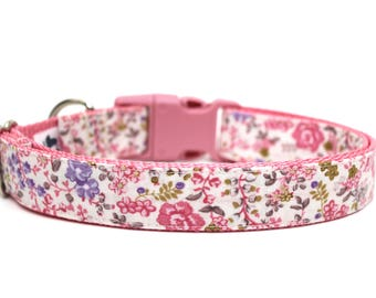 "Floral Dog Collar 3/4"" or 1"" Flower Dog Collar Vintage Floral Style Dog Collar"