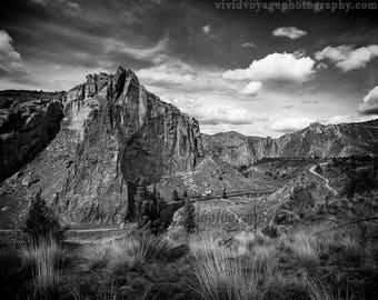 Black And White Landscape Photography, Smith Rock, Rustic Landscape, Rock Climbing, Art For Men, Nature Photography, Western Landscape