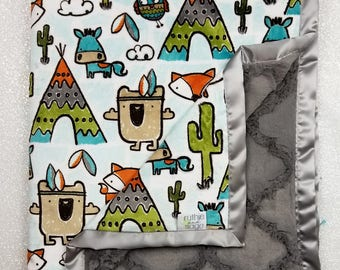 READY TO SHIP Minky blanket, baby boy blanket, pow wow, teepee, woodland blanket, fox blanket, animal blanket, grey and aqua, cactus minky