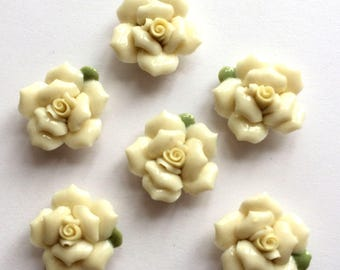 Ceramic Bisque Roses, 6 Pieces, Glazed Ceramic Roses, Handmade, Flat Back Flowers, Cream,Vintage Supplies, 26mm, B'sue Boutiques, Item03238