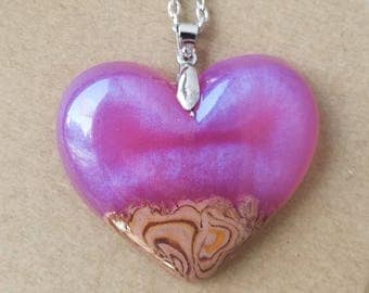 Rose Wood Heart Necklace