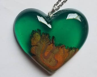 Emerald Green Wood Heart Necklace Pendant