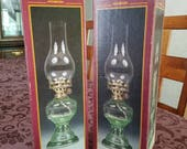 "12 1/2"" Green Glass Oil Lamps  NEW OLD STOCK"