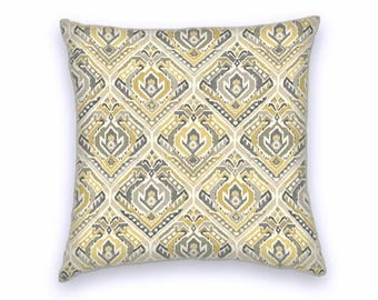 Grey Yellow Cream Ikat Cotton Pillow Cover, Decorative Throw Pillow Cover, 18x18 or 20x20 or 22x22 Accent Pillow Cover