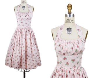 1950s Dress // Halter Shelf Bust Pink Floral Full Skirt Summer Dress