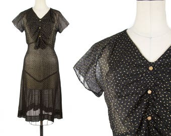 1930s Dress // Golden Moon Print Black Cotton Ruffle Bust Dress