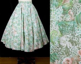 ON SALE 1950s Circle Skirt // Soft Floral Cotton Full Skirt