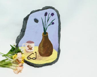 Decor Magnet, Miniature Still Life, Handpainted Decor, Mug & Flower Vase, Decorative Slate, Fridge Magnet, Office Magnet, Miniature Art
