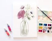 Ranunculus and Anemone- Original Floral Watercolour