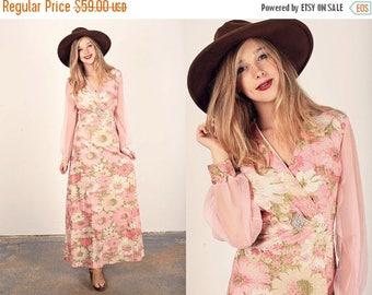 FLASH SALE 60s Pink Shimmer Dress Vintage Floral Pink Glitter Maxi