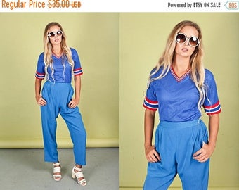 FLASH SALE 80s Bright Blue Trousers Vintage Royal Blue High Waisted Pants