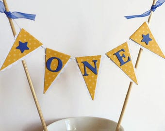 Boys First Birthday Smash Cake Topper - ONE Year Old Boy - Cake Bunting - Yellow, Navy