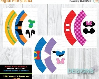 ON SALE Mouse Clubhouse Mini Cupcake Toppers and Wrappers