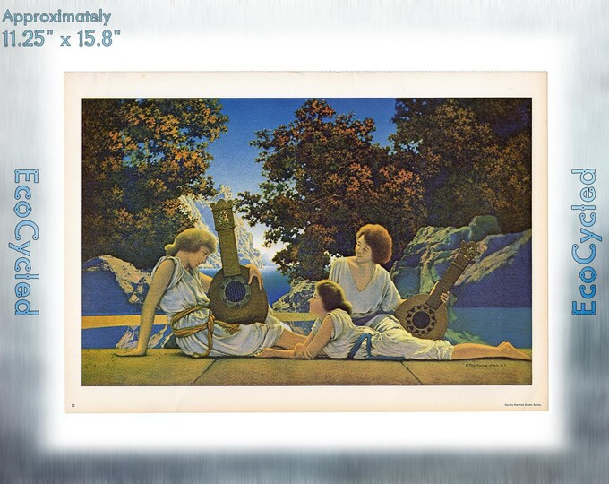 Maxfield Parrish Vintage Poster Lute Players neoclassical art print ready to frame print vintage art print Paper Ephemera Book Page z21