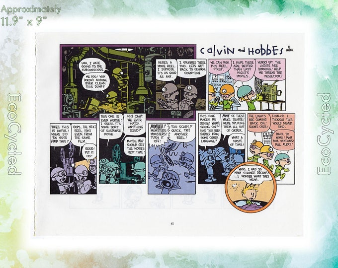 Calvin & Hobbes Page Dreaming, Substitute Teacher Philosophy It's a Magical World Bill Watterson Vintage Paper Ephemera art print 39-40