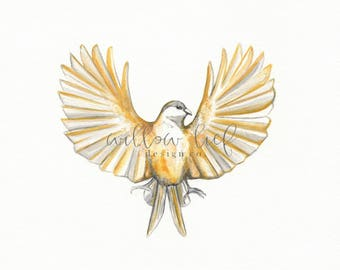 Freedom's Flight, Yellow Bird, Minimal Chic, Wall Art, Archival Watercolor Print