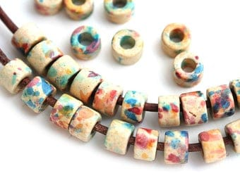 Ceramic Tube beads mix in Earthy colors, Tan Beige with splashes, greek washer beads for leather cord - 40pc - 2621