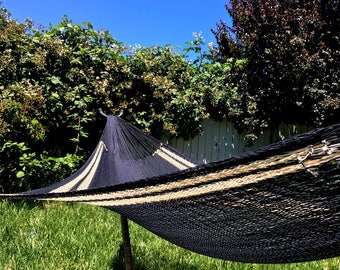 Hand woven hammock, black and natural color