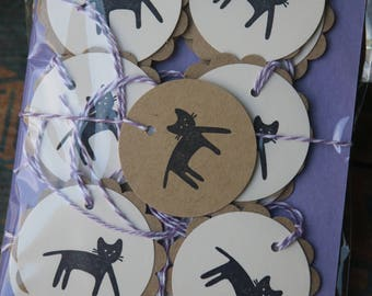 12 Handmade Black Cat Gift Tags ~ Cat Lovers ~ Birthday Tags ~ Ready to Post