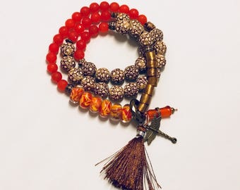 Exotic earthy wrap bracelet/necklace
