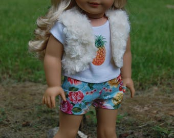 SALE-3 piece outfit-American Girl Inspired clothing/18 inch doll clothes/doll shorts/fur vest/doll shirt/doll outifit/casual wear/Pineapple
