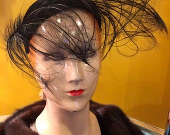Vintage 1950s Couture Black Feather Hat by Flo-Raye