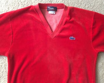 Vintage Red Velour IZOD Lacoste Sweater