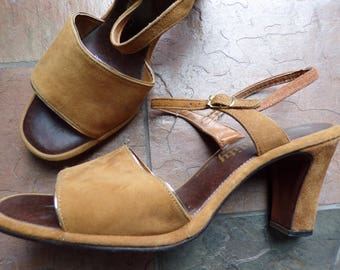 vintage CINNAMON SUEDE HEELS vitality open toe sandals shoes 9 10