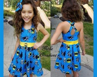 Girls Batman Dress, Girls Dress, Batman Blue Yellow Gray, DC Comics, Marvel - Available in  2y - 12y