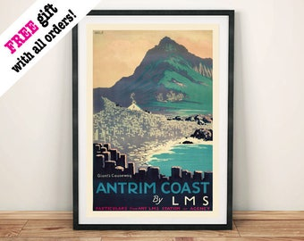 GIANTS CAUSEWAY POSTER: Vintage Antrim Northern Ireland Travel Advert, Art Print