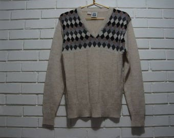 80's Kennington argyle sweater size M