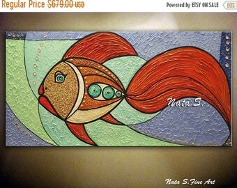 Summer SALE Original Fish Painting, Abstract Textured Large Artwork, Modern Fish Painting, Decorative Accents, Fun Gift, Home Office Decor b