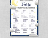 Twinkle Twinkle Little Star Baby Shower What's In Your Purse Game, Printable Baby Shower Game, Instant Download