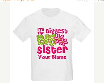 ON SALE Big Sister Pink Green Floral Biggest Big Sister Personalized T Shirt