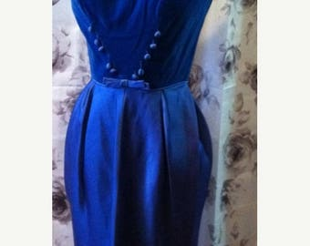35% off Sale Royal blue velvet wiggle dress 1950