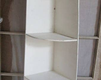 Salvaged Tall White Wood Corner Vintage Shelf