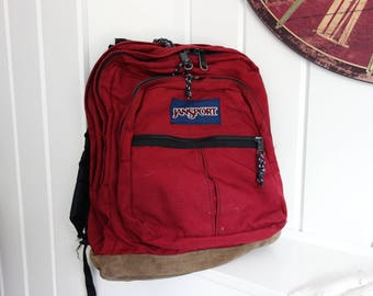 Classic  Rare Larger Size Old School Jansport Dark Red Bookbag Backpack 1980s 1990s Leather Suede Bottom