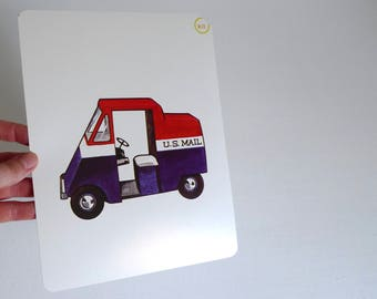Large Vintage Flash Card of a U.S. Mail Truck - 1965 Peabody Language Development